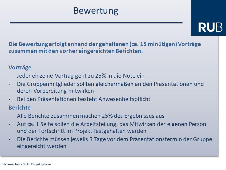 Datenschutz SS10 Projektphase Bewertung Die Bewertung erfolgt anhand der gehaltenen (ca.