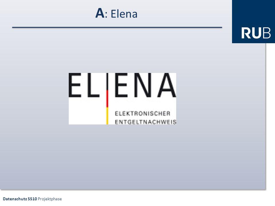 Datenschutz SS10 Projektphase A : Elena