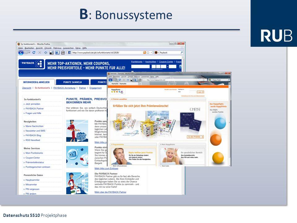 Datenschutz SS10 Projektphase B : Bonussysteme