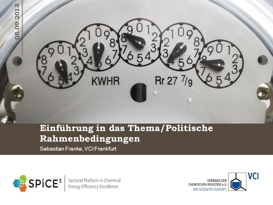 Einführung in das Thema/Politische Rahmenbedingungen Sebastian Franke, VCI Frankfurt 05.09.2013