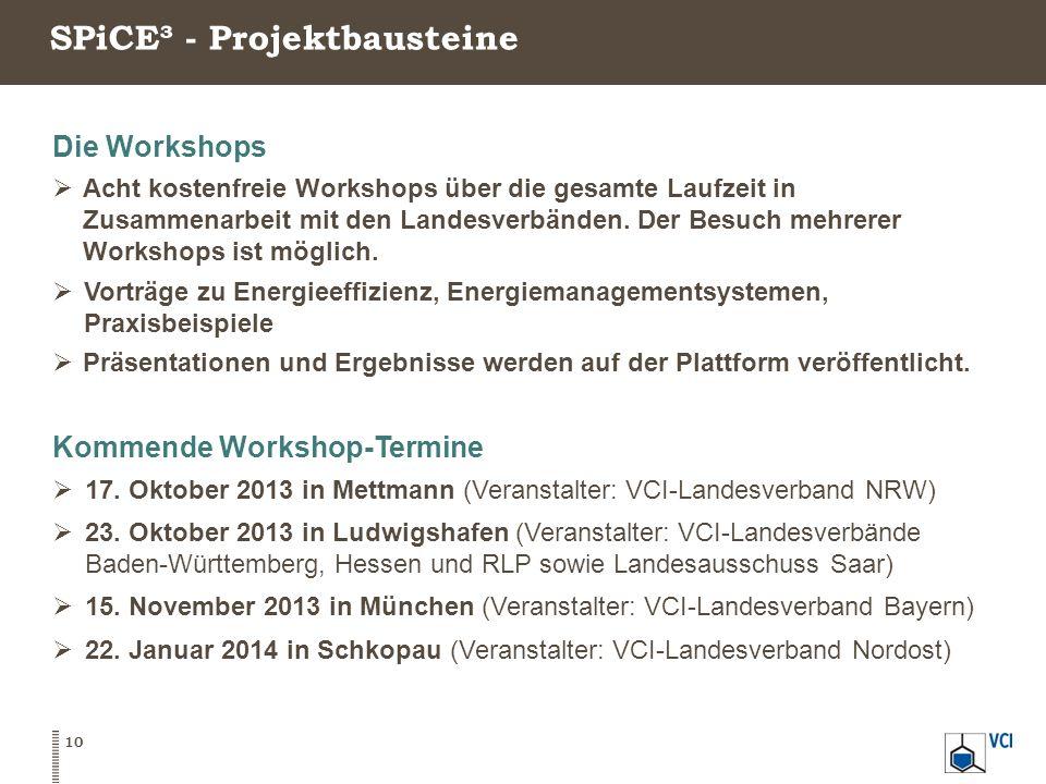 SPiCE³ - Projektbausteine 10 Die Workshops  Acht kostenfreie Workshops über die gesamte Laufzeit in Zusammenarbeit mit den Landesverbänden. Der Besuc