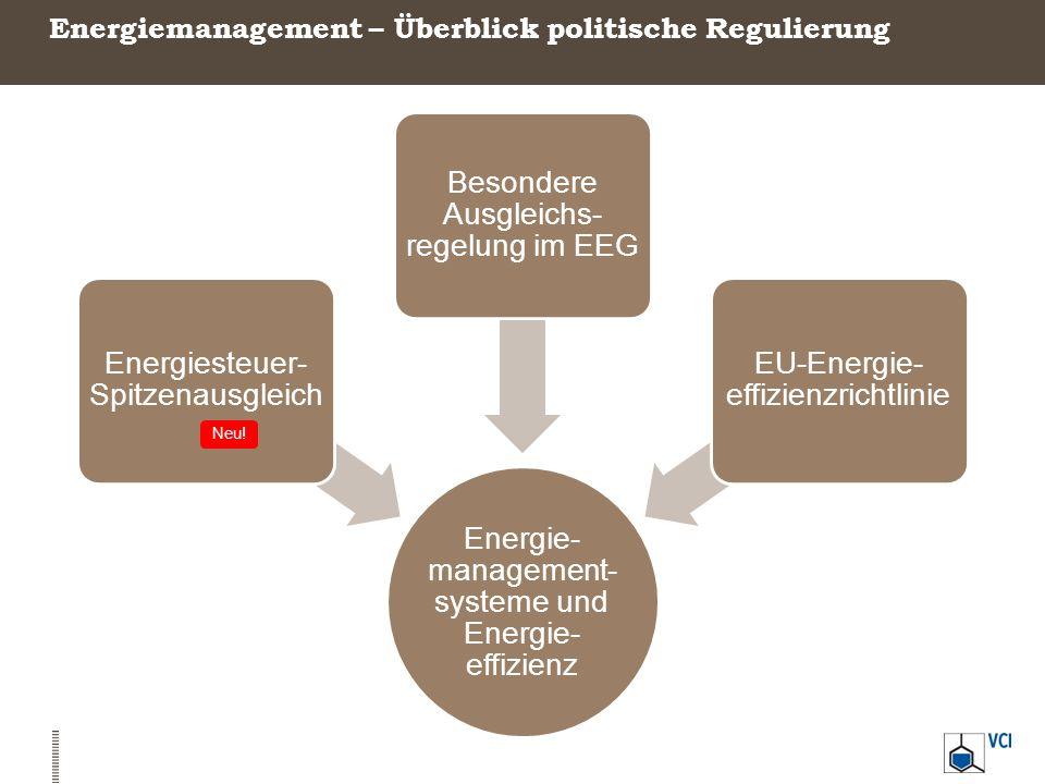 Energiemanagement – Überblick politische Regulierung Energie- management- systeme und Energie- effizienz Energiesteuer- Spitzenausgleich Besondere Aus