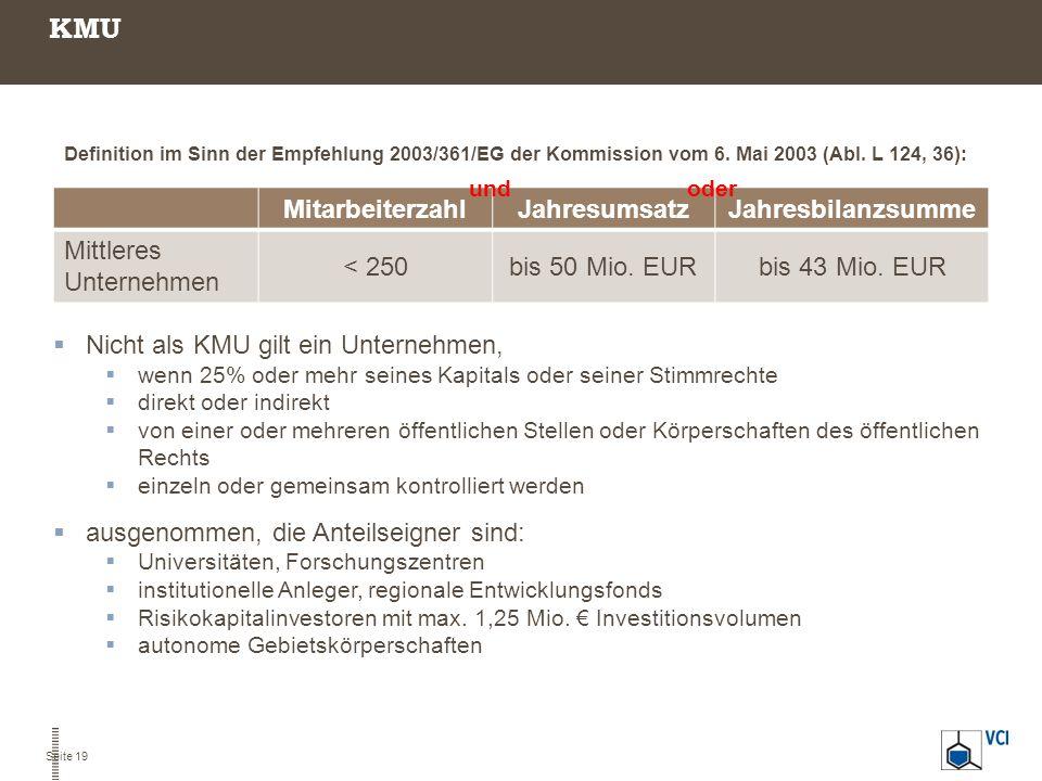 KMU MitarbeiterzahlJahresumsatzJahresbilanzsumme Mittleres Unternehmen < 250bis 50 Mio. EURbis 43 Mio. EUR oder  Nicht als KMU gilt ein Unternehmen,