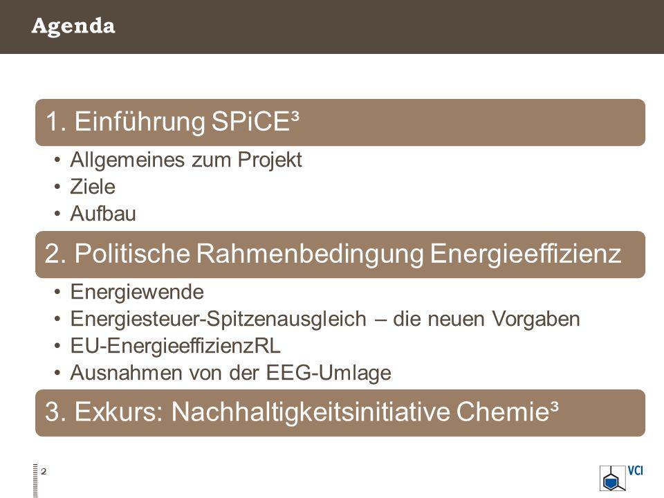Agenda 2 1. Einführung SPiCE³ Allgemeines zum Projekt Ziele Aufbau 2. Politische Rahmenbedingung Energieeffizienz Energiewende Energiesteuer-Spitzenau