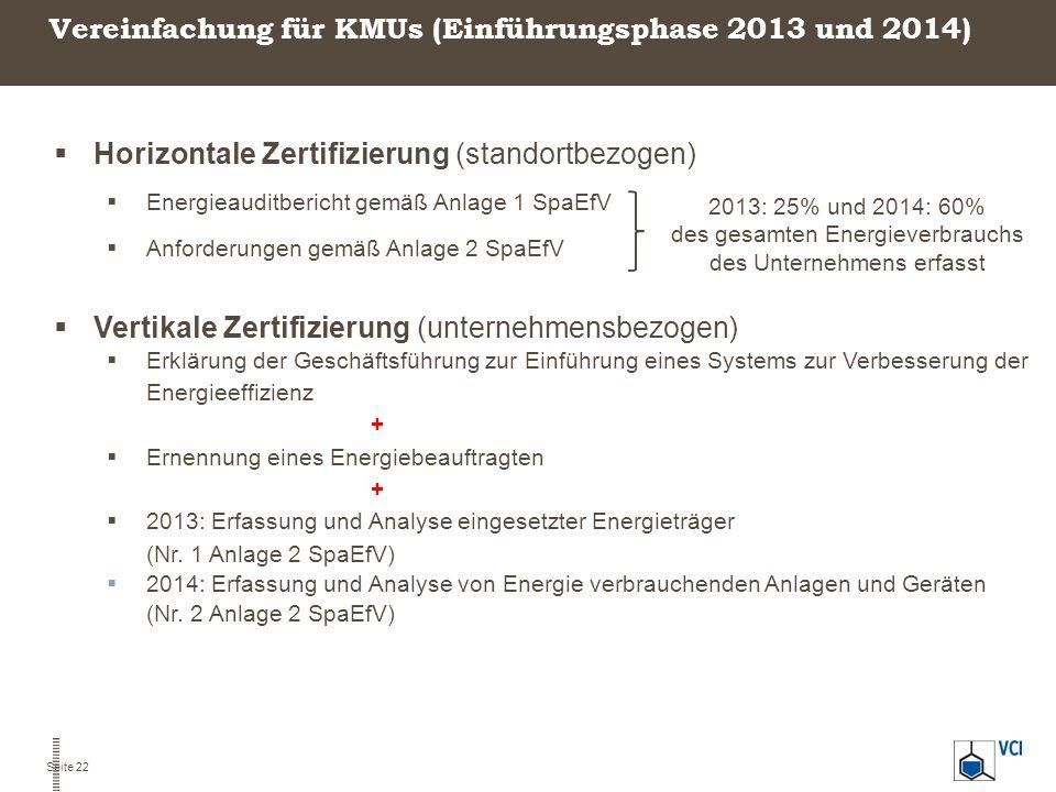 Vereinfachung für KMUs (Einführungsphase 2013 und 2014)  Horizontale Zertifizierung (standortbezogen)  Energieauditbericht gemäß Anlage 1 SpaEfV  A