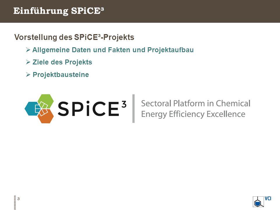 SPiCE³ - Allgemeine Daten und Fakten + Überblick  SPiCE³ steht für: Sectoral Platform in Chemicals for Energy Efficiency Excellence.