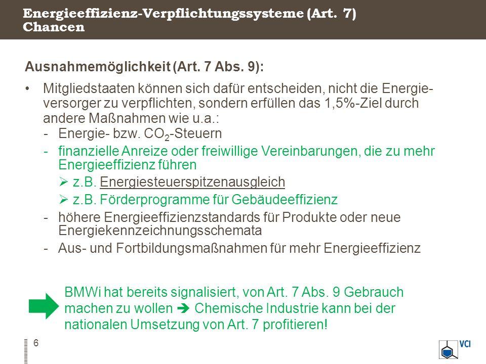 Energieeffizienz-Verpflichtungssysteme (Art. 7) Chancen 6 Ausnahmemöglichkeit (Art. 7 Abs. 9): Mitgliedstaaten können sich dafür entscheiden, nicht di