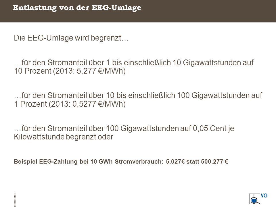 Entlastung von der EEG-Umlage Die EEG-Umlage wird begrenzt… …für den Stromanteil über 1 bis einschließlich 10 Gigawattstunden auf 10 Prozent (2013: 5,277 €/MWh) …für den Stromanteil über 10 bis einschließlich 100 Gigawattstunden auf 1 Prozent (2013: 0,5277 €/MWh) …für den Stromanteil über 100 Gigawattstunden auf 0,05 Cent je Kilowattstunde begrenzt oder Beispiel EEG-Zahlung bei 10 GWh Stromverbrauch: 5.027€ statt 500.277 €