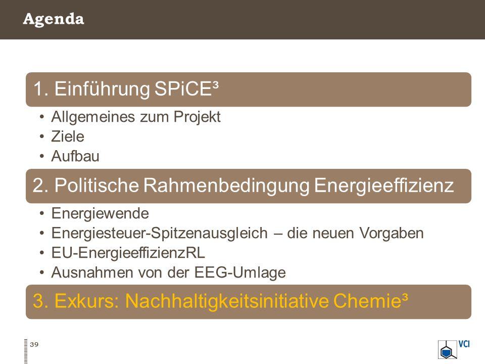 Agenda 39 1. Einführung SPiCE³ Allgemeines zum Projekt Ziele Aufbau 2. Politische Rahmenbedingung Energieeffizienz Energiewende Energiesteuer-Spitzena