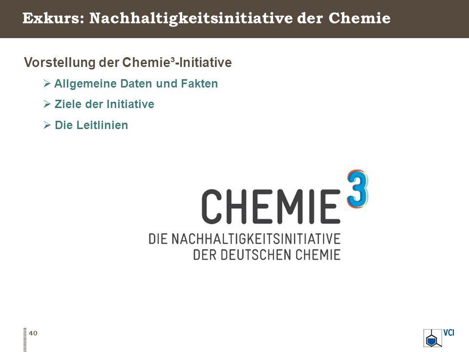 Exkurs: Nachhaltigkeitsinitiative der Chemie Vorstellung der Chemie³-Initiative  Allgemeine Daten und Fakten  Ziele der Initiative  Die Leitlinien 40