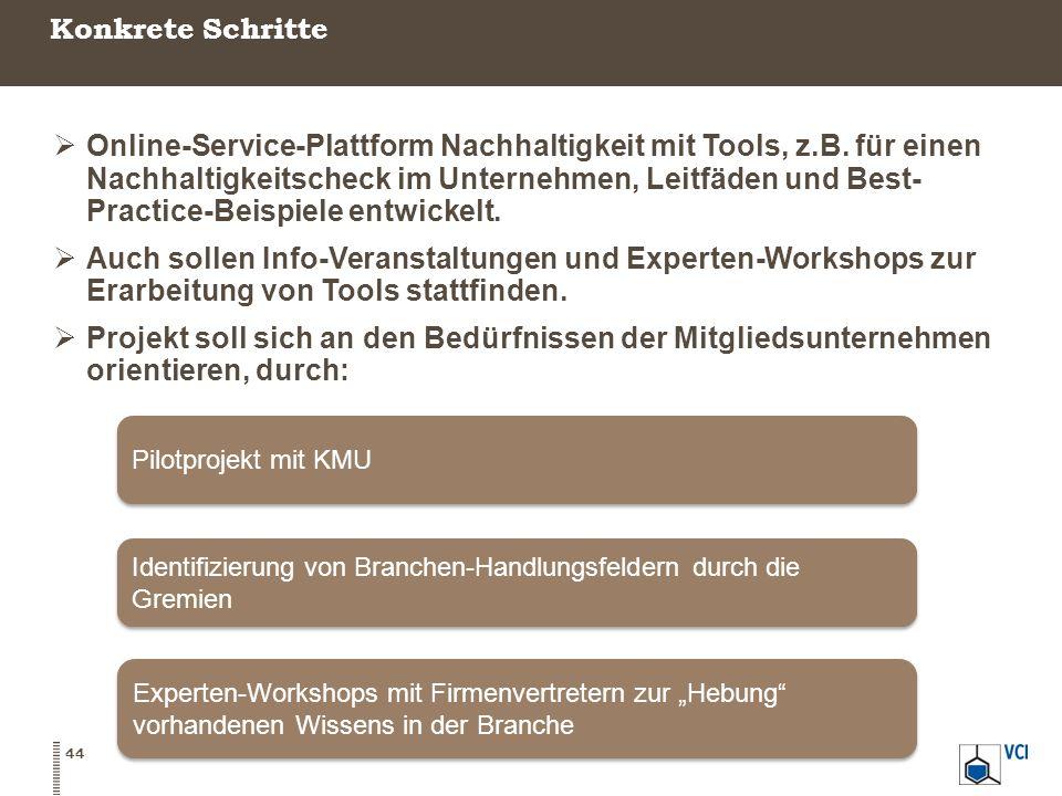 Konkrete Schritte 44  Online-Service-Plattform Nachhaltigkeit mit Tools, z.B. für einen Nachhaltigkeitscheck im Unternehmen, Leitfäden und Best- Prac