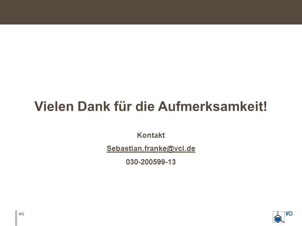 45 Vielen Dank für die Aufmerksamkeit! Kontakt Sebastian.franke@vci.de 030-200599-13