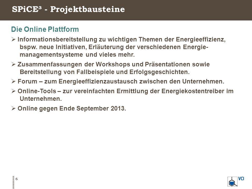 SPiCE³ - Projektbausteine 6 Die Online Plattform  Informationsbereitstellung zu wichtigen Themen der Energieeffizienz, bspw. neue Initiativen, Erläut