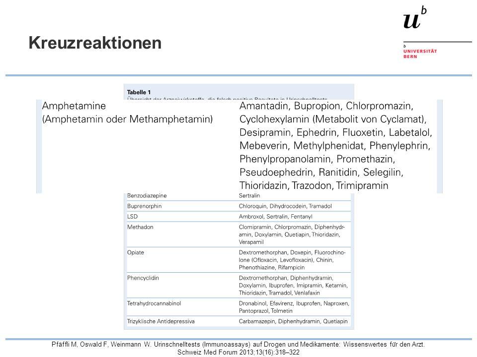 Kreuzreaktionen Pfäffli M, Oswald F, Weinmann W. Urinschnelltests (Immunoassays) auf Drogen und Medikamente: Wissenswertes fu ̈ r den Arzt. Schweiz Me