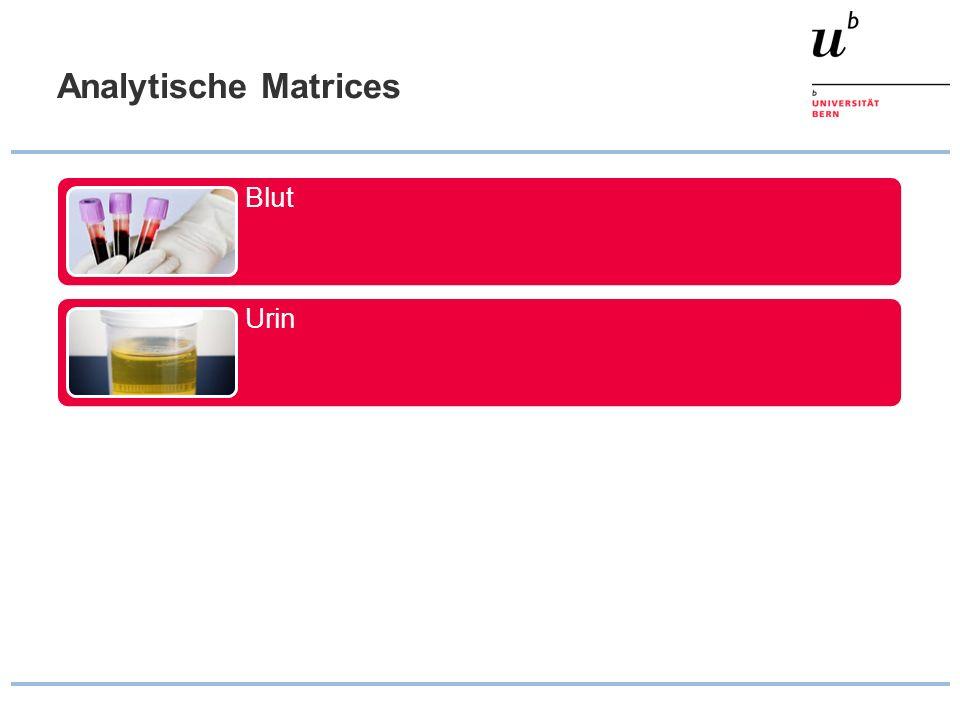 Auswahl der Matrix Nachweis eines akuten Substanzeinflusses Matrix: Blut (sehr grob Speichel) Klinische Indikation: Intoxikation Nachweis eines Konsums Matrices: Haare, Urin, (Blut) Klinische Indikation: Objektivierung anamnestischer Angaben