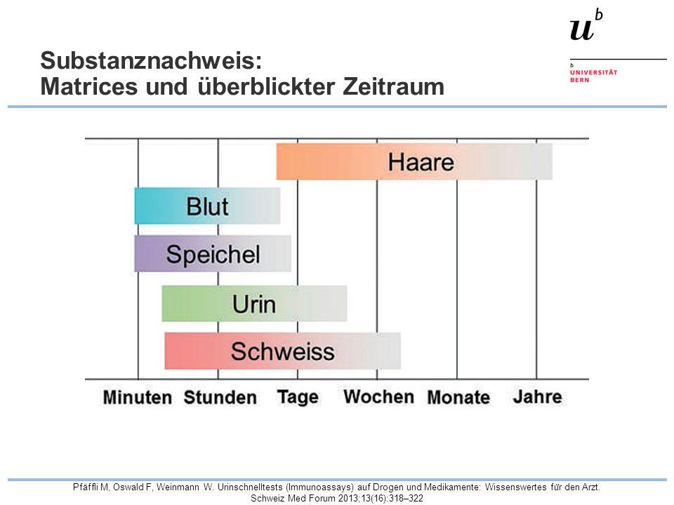 Substanznachweis: Matrices und überblickter Zeitraum Pfäffli M, Oswald F, Weinmann W. Urinschnelltests (Immunoassays) auf Drogen und Medikamente: Wiss
