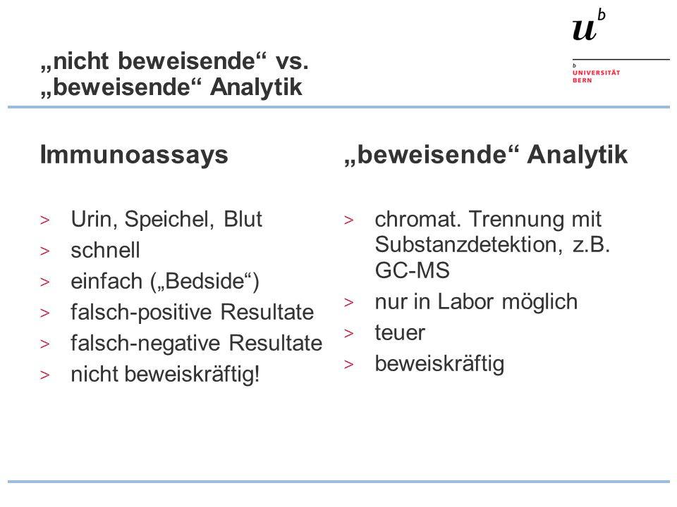 """""""nicht beweisende"""" vs. """"beweisende"""" Analytik Immunoassays > Urin, Speichel, Blut > schnell > einfach (""""Bedside"""") > falsch-positive Resultate > falsch-"""