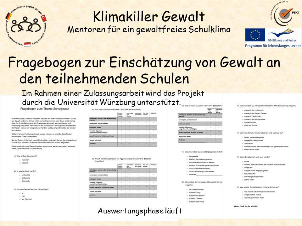 Klimakiller Gewalt Mentoren für ein gewaltfreies Schulklima Fragebogen zur Einschätzung von Gewalt an den teilnehmenden Schulen Auswertungsphase läuft Im Rahmen einer Zulassungsarbeit wird das Projekt durch die Universität Würzburg unterstützt.