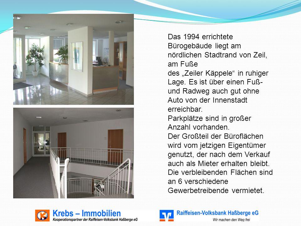"""Das 1994 errichtete Bürogebäude liegt am nördlichen Stadtrand von Zeil, am Fuße des """"Zeiler Käppele in ruhiger Lage."""