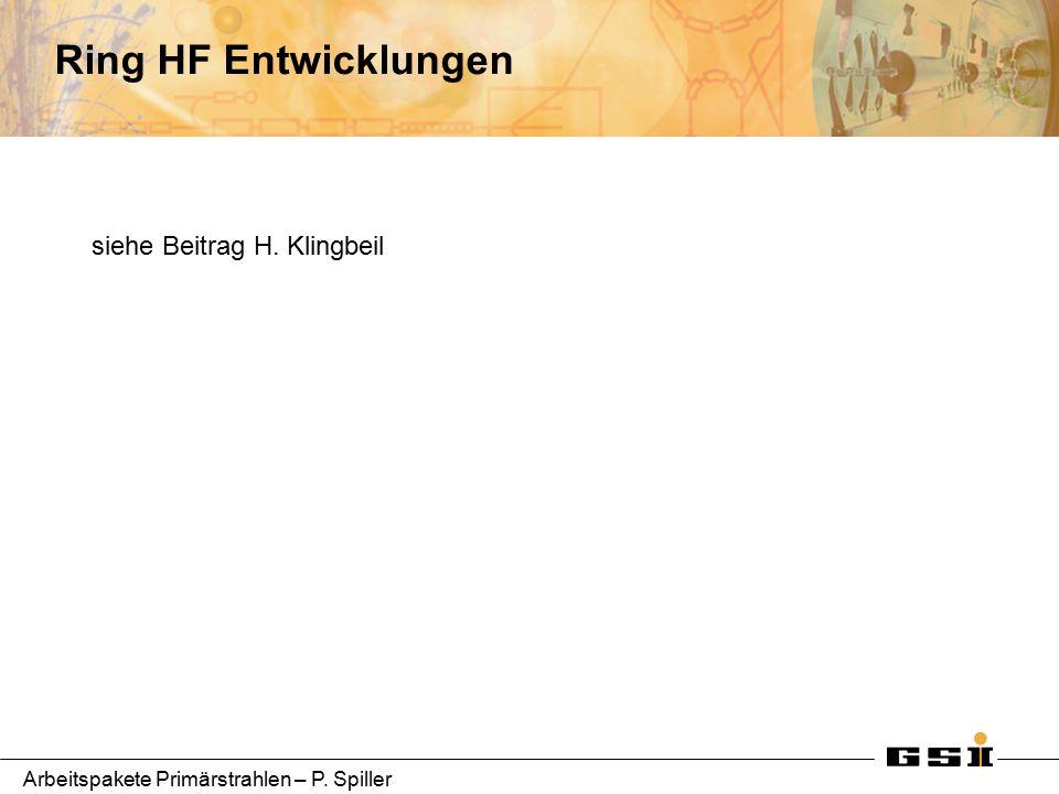 Arbeitspakete Primärstrahlen – P. Spiller Ring HF Entwicklungen siehe Beitrag H. Klingbeil