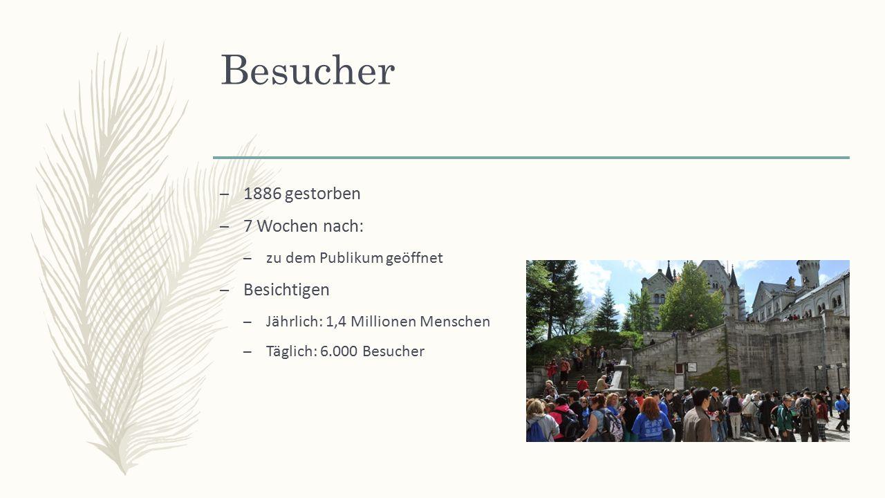 Besucher – 1886 gestorben – 7 Wochen nach: – zu dem Publikum geöffnet – Besichtigen – Jährlich: 1,4 Millionen Menschen – Täglich: 6.000 Besucher