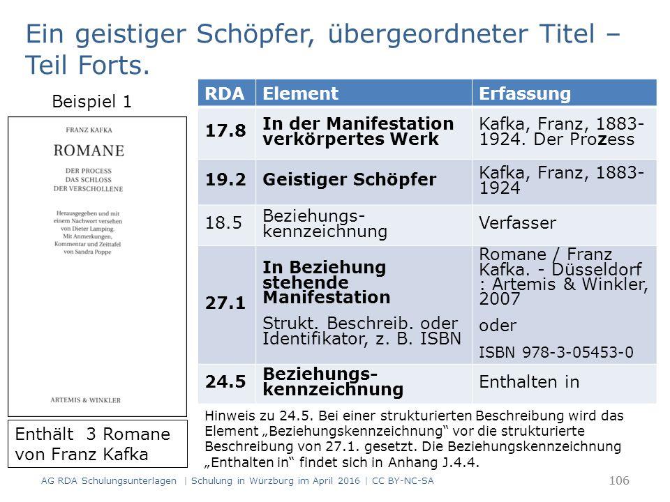106 RDAElementErfassung 17.8 In der Manifestation verkörpertes Werk Kafka, Franz, 1883- 1924. Der Prozess 19.2Geistiger Schöpfer Kafka, Franz, 1883- 1