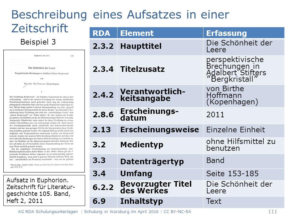 111 RDAElementErfassung 2.3.2Haupttitel Die Schönheit der Leere 2.3.4Titelzusatz perspektivische Brechungen in Adalbert Stifters ″B ergkristall ″ 2.4.