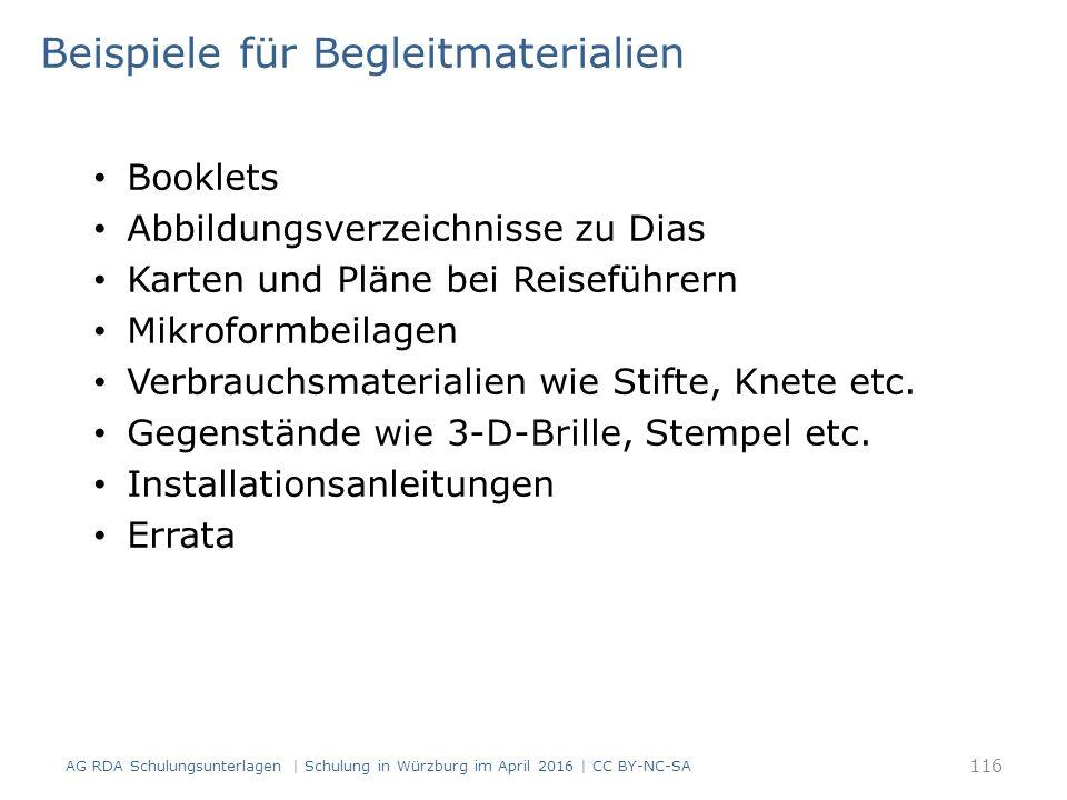 Beispiele für Begleitmaterialien Booklets Abbildungsverzeichnisse zu Dias Karten und Pläne bei Reiseführern Mikroformbeilagen Verbrauchsmaterialien wi