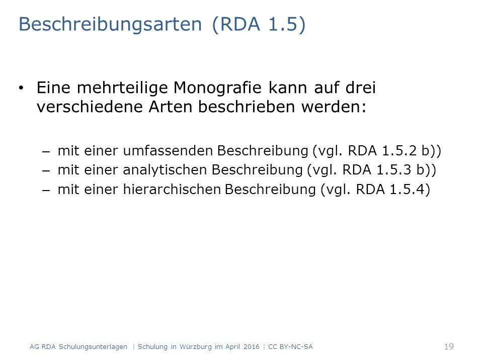 Beschreibungsarten (RDA 1.5) Eine mehrteilige Monografie kann auf drei verschiedene Arten beschrieben werden: – mit einer umfassenden Beschreibung (vg