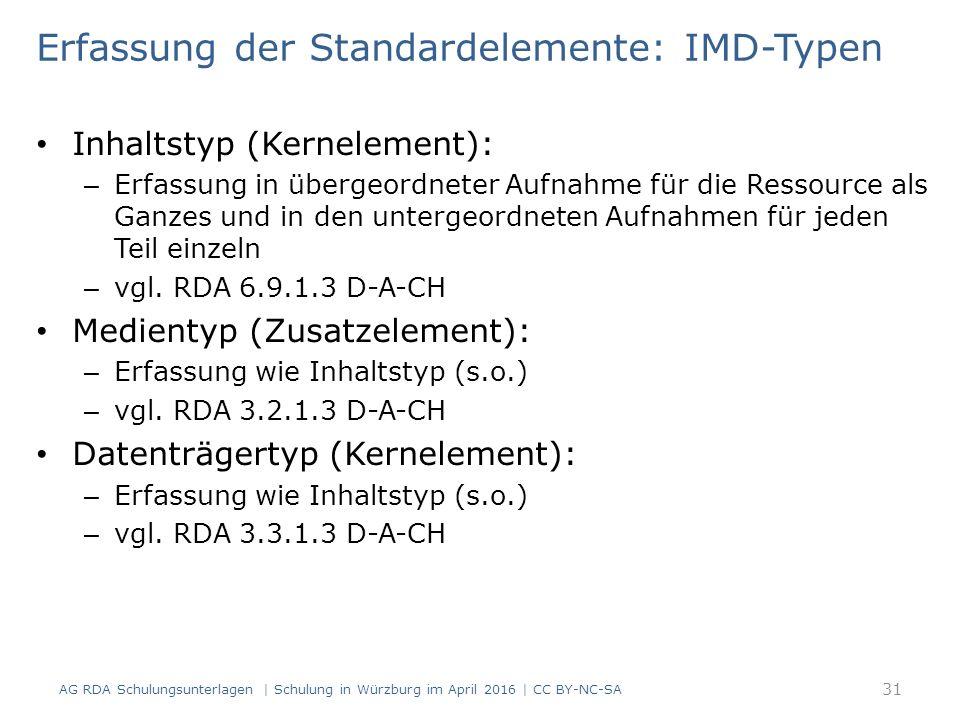 Erfassung der Standardelemente: IMD-Typen Inhaltstyp (Kernelement): – Erfassung in übergeordneter Aufnahme für die Ressource als Ganzes und in den unt