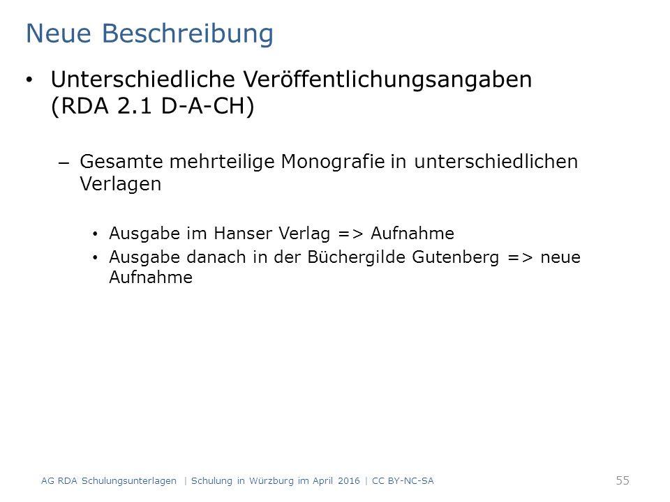 Neue Beschreibung AG RDA Schulungsunterlagen | Schulung in Würzburg im April 2016 | CC BY-NC-SA 55 Unterschiedliche Veröffentlichungsangaben (RDA 2.1
