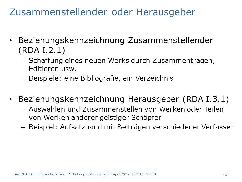 Zusammenstellender oder Herausgeber Beziehungskennzeichnung Zusammenstellender (RDA I.2.1) – Schaffung eines neuen Werks durch Zusammentragen, Editier