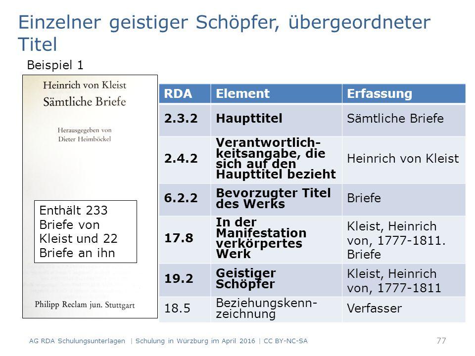 77 RDAElementErfassung 2.3.2HaupttitelSämtliche Briefe 2.4.2 Verantwortlich- keitsangabe, die sich auf den Haupttitel bezieht Heinrich von Kleist 6.2.