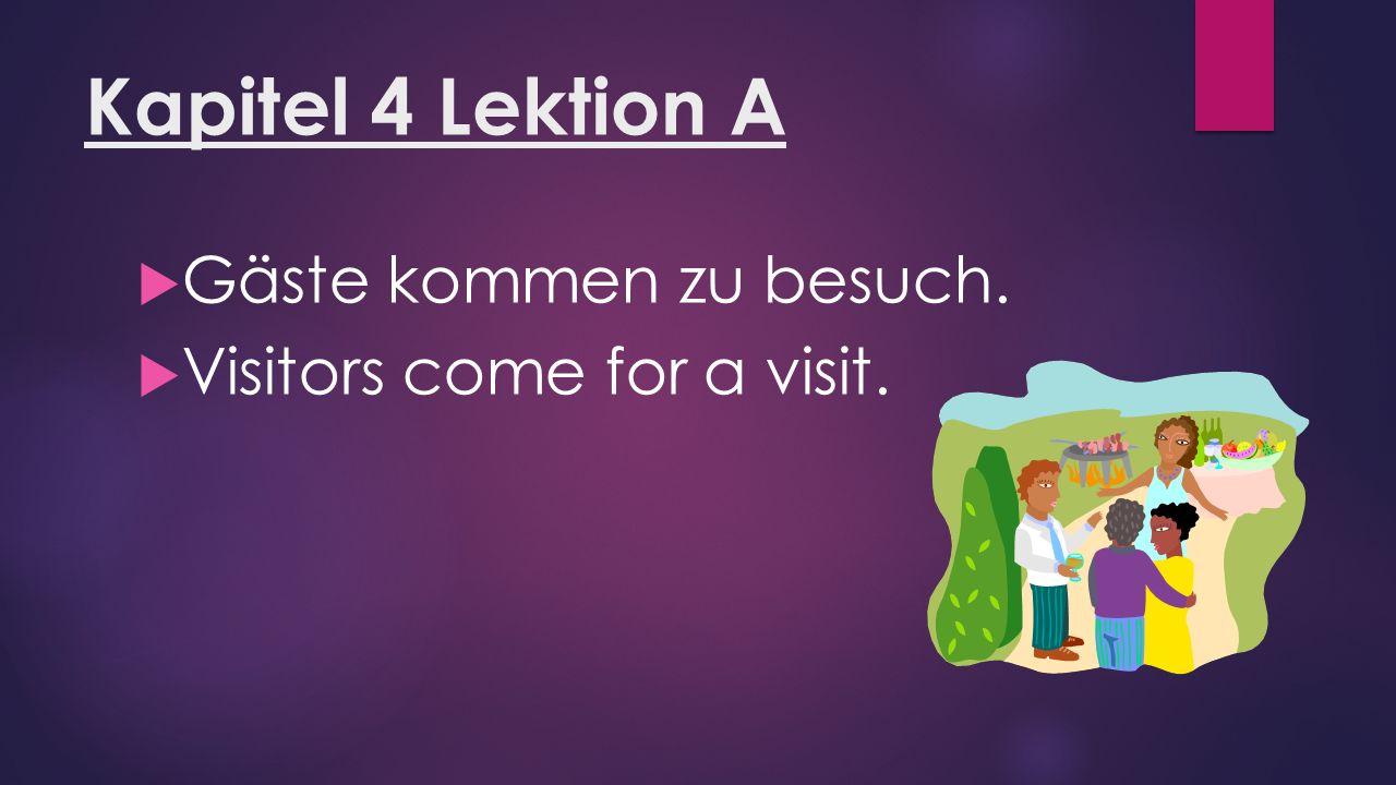 Kapitel 4 Lektion A  Gäste kommen zu besuch.  Visitors come for a visit.