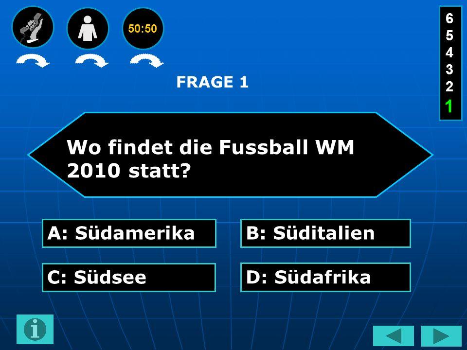 50:50 Wo findet die Fussball WM 2010 statt.