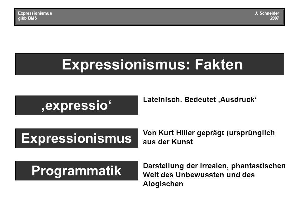 Expressionismus: Fakten Expressionismus Programmatik 'expressio' Lateinisch.