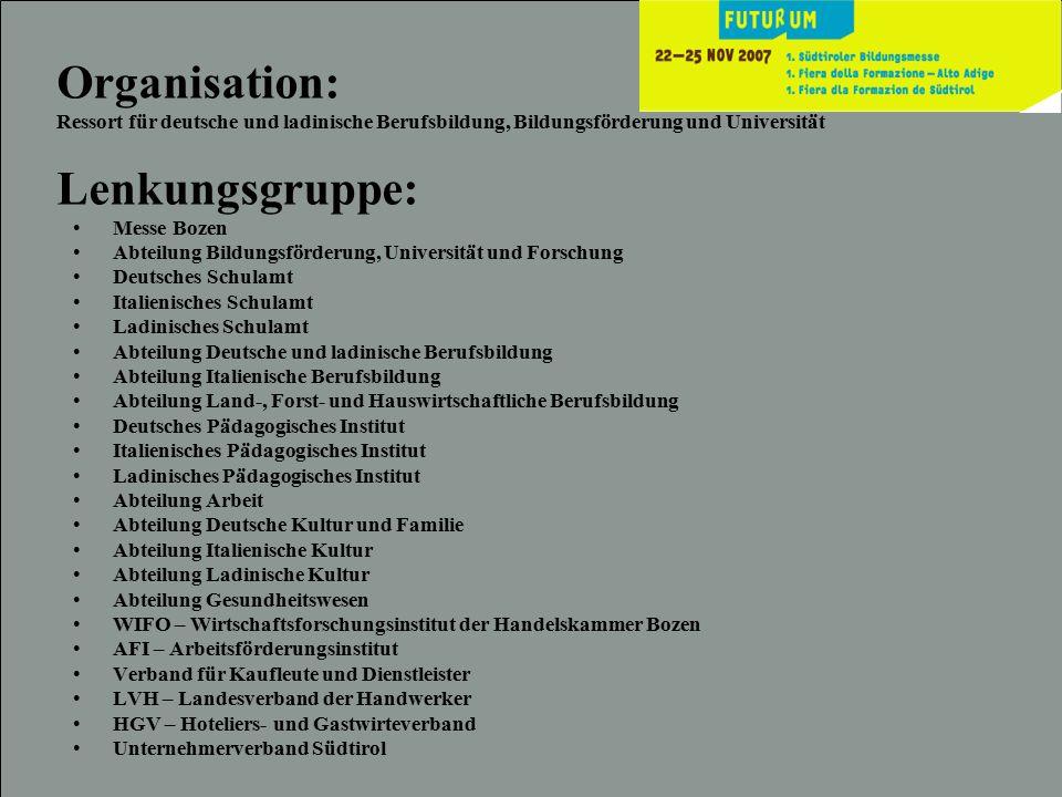 Organisation: Ressort für deutsche und ladinische Berufsbildung, Bildungsförderung und Universität Lenkungsgruppe: Messe Bozen Abteilung Bildungsförde