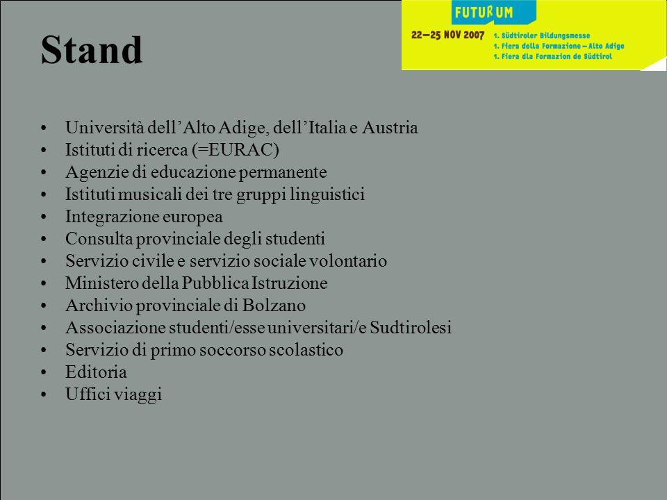 Stand Università dell'Alto Adige, dell'Italia e Austria Istituti di ricerca (=EURAC) Agenzie di educazione permanente Istituti musicali dei tre gruppi