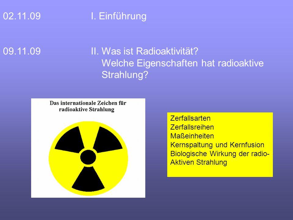02.11.09 I. Einführung 09.11.09II. Was ist Radioaktivität.