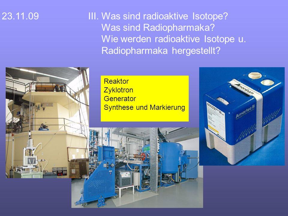 23.11.09III. Was sind radioaktive Isotope. Was sind Radiopharmaka.