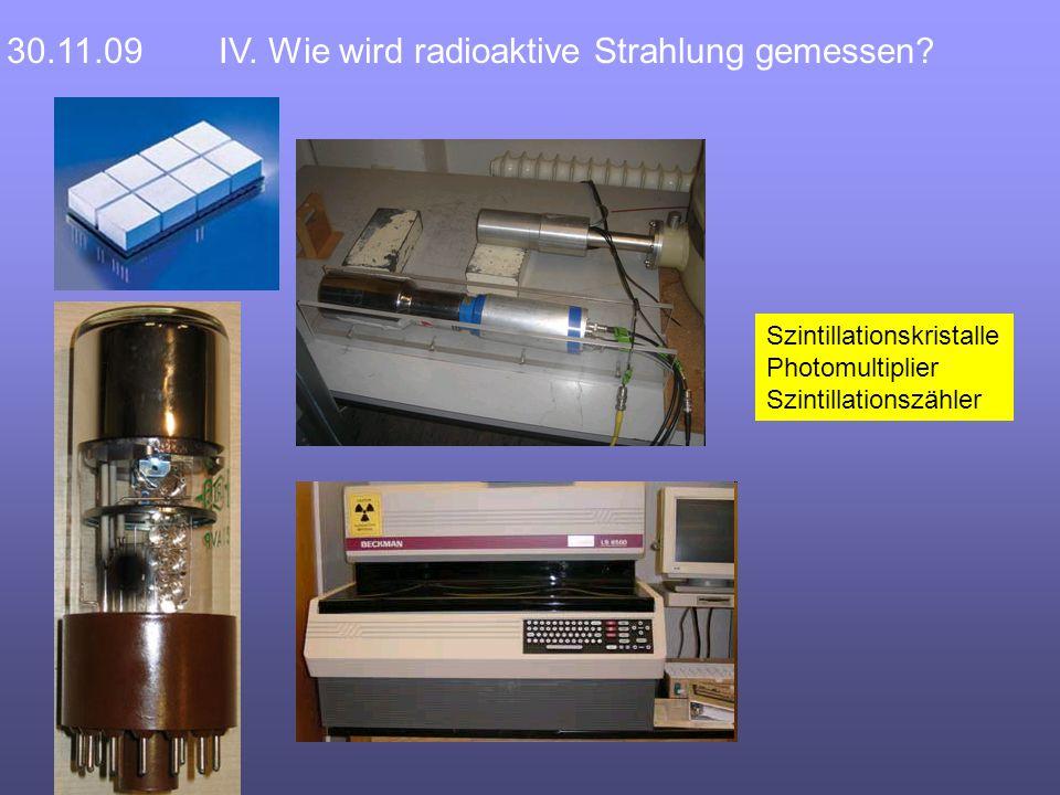 30.11.09IV. Wie wird radioaktive Strahlung gemessen.