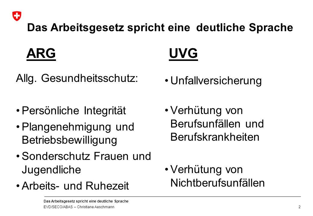 Eidgenössisches Volkswirtschaftsdepartement EVD Staatssekretariat für Wirtschaft SECO Das Arbeitsgesetz spricht eine deutliche Sprache Christiane Aeschmann 30.