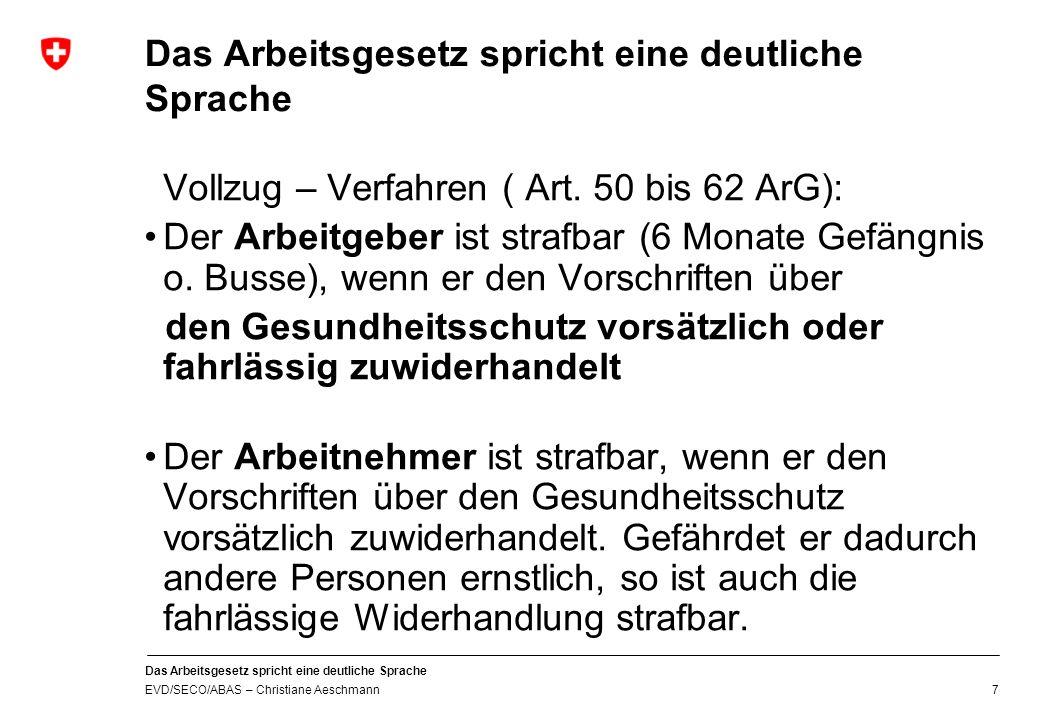 Eidgenössisches Volkswirtschaftsdepartement EVD Staatssekretariat für Wirtschaft SECO Oberaufsicht - Bund Christiane Aeschmann 20.