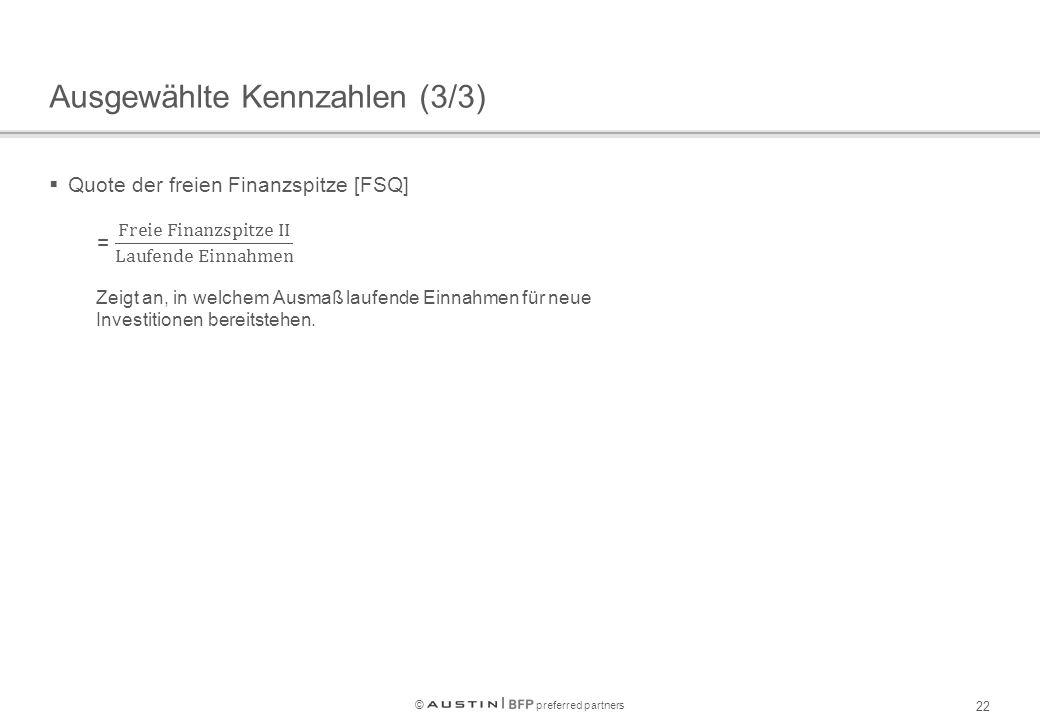 © preferred partners 22 Ausgewählte Kennzahlen (3/3)