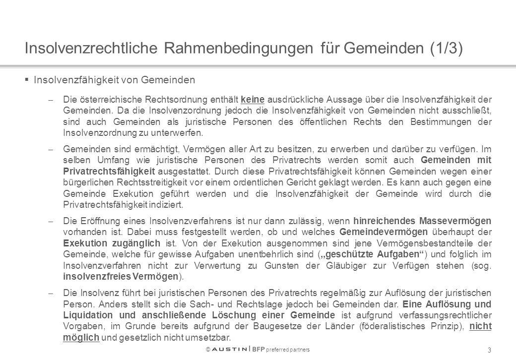 © preferred partners 3 Insolvenzrechtliche Rahmenbedingungen für Gemeinden (1/3)  Insolvenzfähigkeit von Gemeinden  Die österreichische Rechtsordnung enthält keine ausdrückliche Aussage über die Insolvenzfähigkeit der Gemeinden.