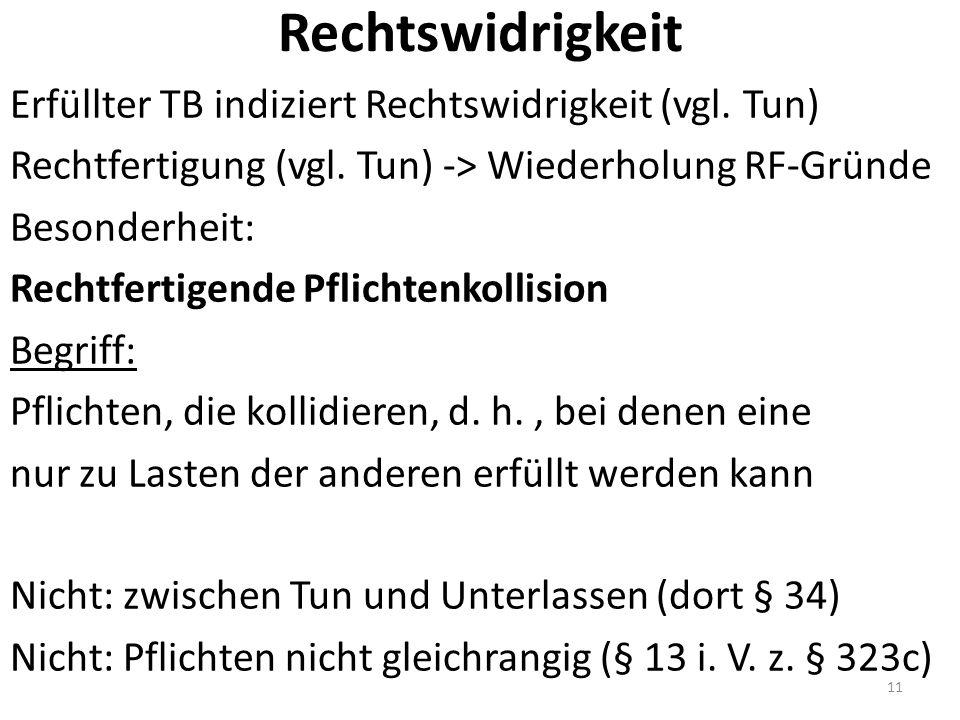 Rechtswidrigkeit Erfüllter TB indiziert Rechtswidrigkeit (vgl.