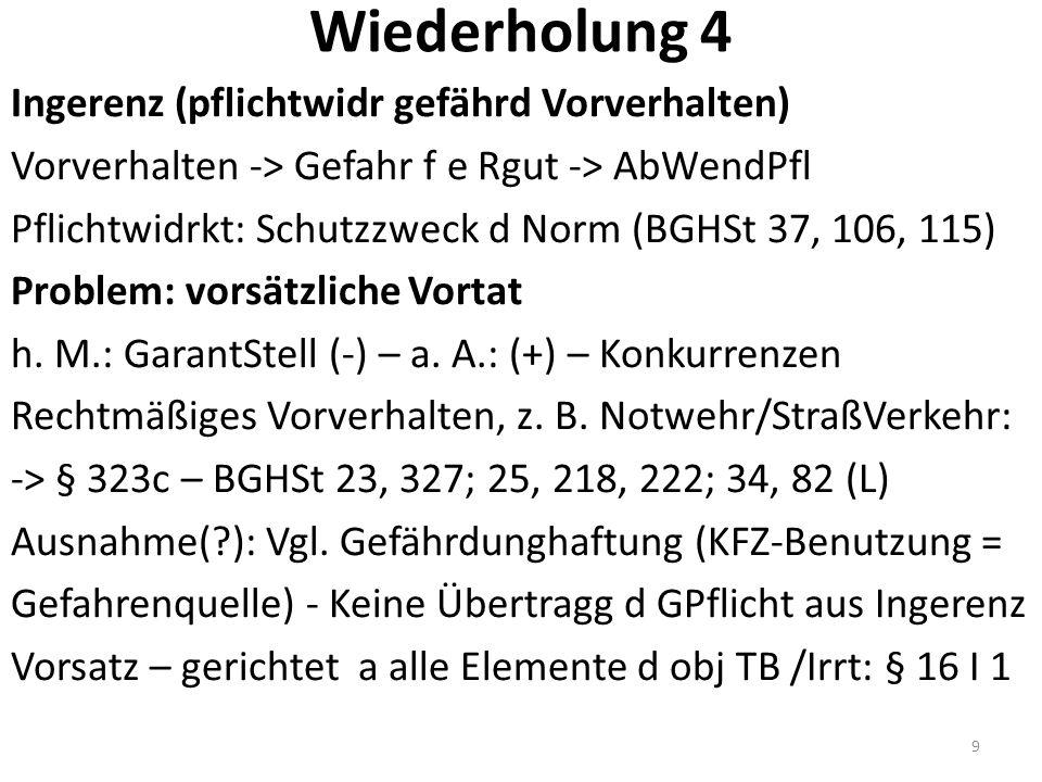 Wiederholung 4 Ingerenz (pflichtwidr gefährd Vorverhalten) Vorverhalten -> Gefahr f e Rgut -> AbWendPfl Pflichtwidrkt: Schutzzweck d Norm (BGHSt 37, 106, 115) Problem: vorsätzliche Vortat h.