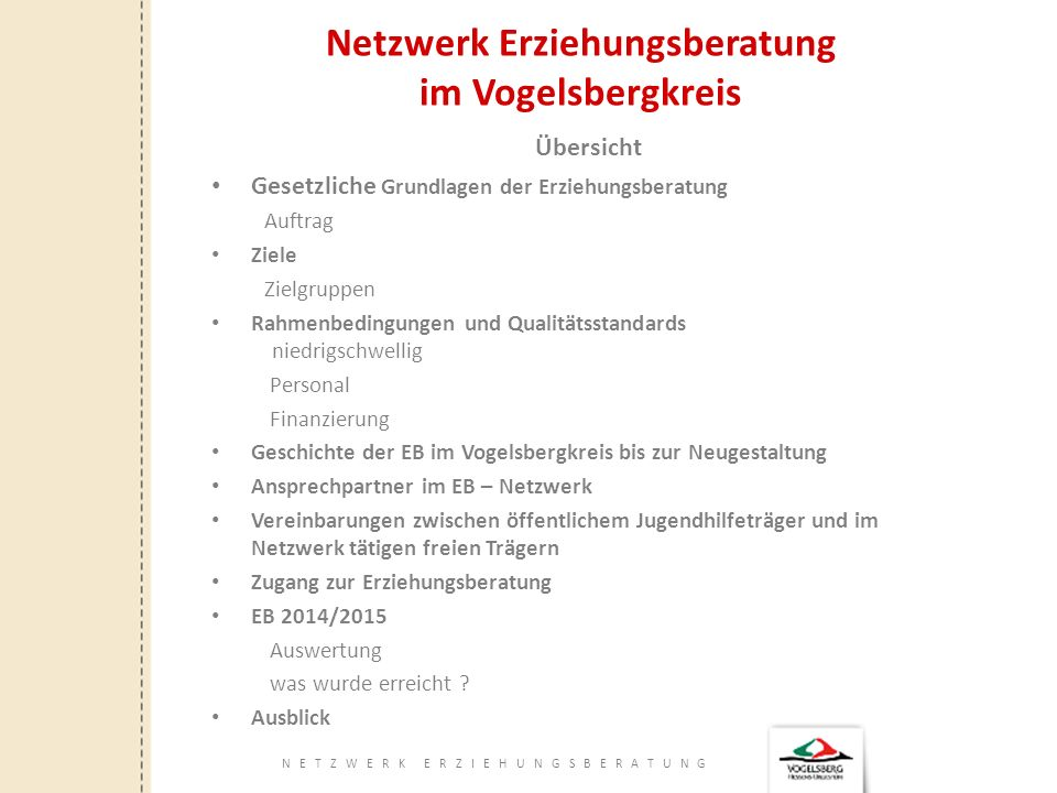 NETZWERK ERZIEHUNGSBERATUNG Netzwerk Erziehungsberatung im Vogelsbergkreis Ansprechpartner