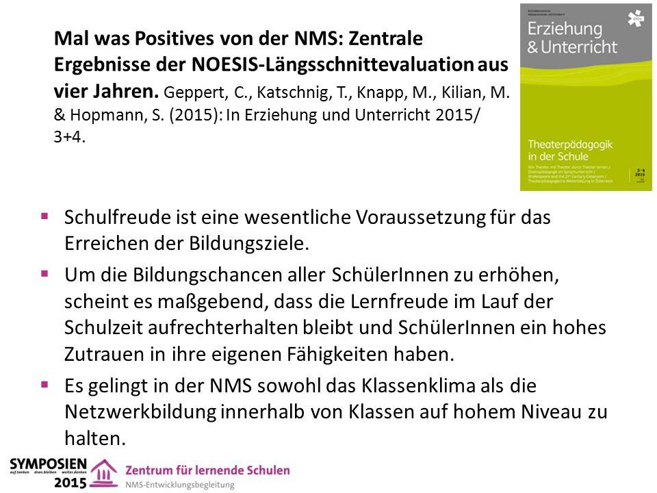 Mal was Positives von der NMS: Zentrale Ergebnisse der NOESIS-Längsschnittevaluation aus vier Jahren.