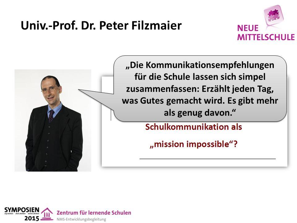 """Univ.-Prof. Dr. Peter Filzmaier """"Die Kommunikationsempfehlungen für die Schule lassen sich simpel zusammenfassen: Erzählt jeden Tag, was Gutes gemacht"""